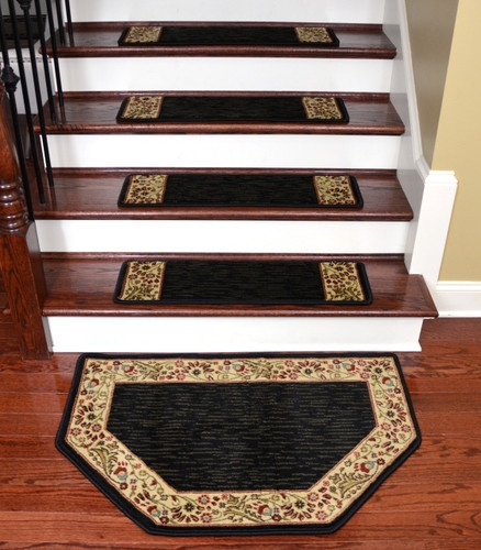 Talas Floral Black Stair Treads Landing Mat 31 | Black Carpet Stair Treads | Bullnose | Slip Resistant | Interior | Gray | Indoor