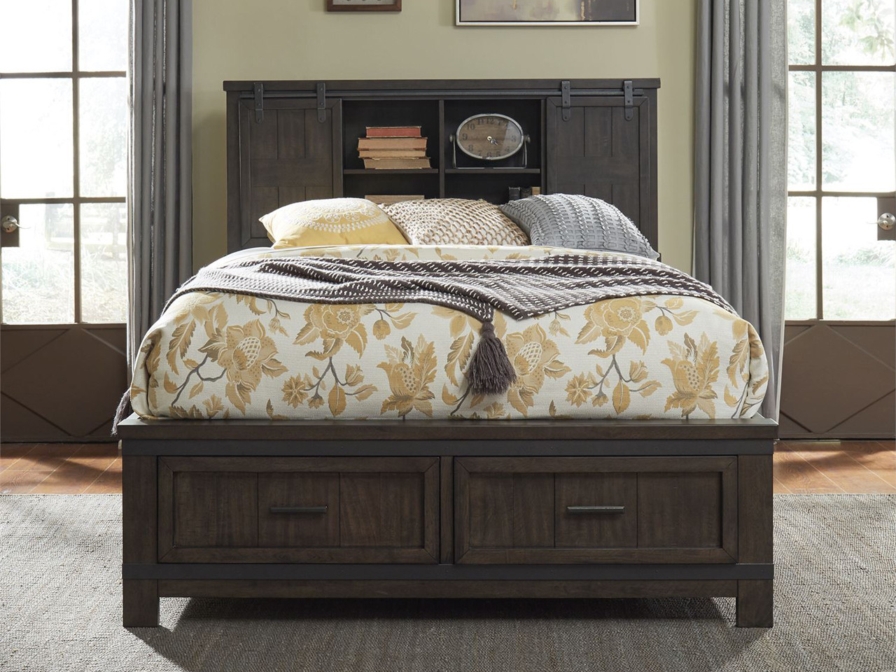 Farmhouse Bookcase Storage Bed Queen Bedroom Source