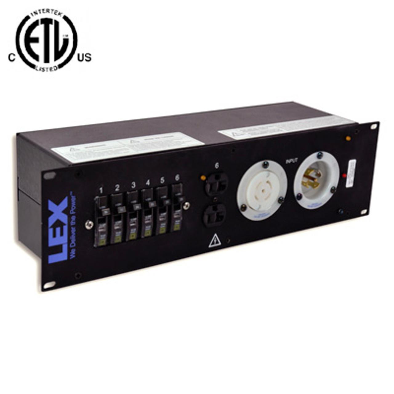 lex 2ru rack mount power distribution l21 30 in thru to 4 l5 30 and duplexes
