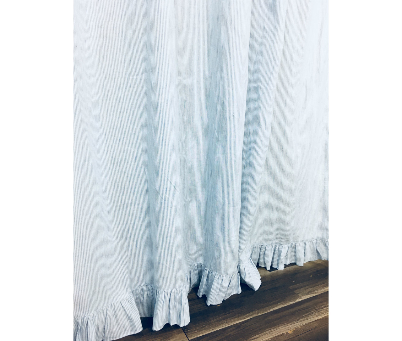 Blue And White Ticking Striped Linen Shower Curtain With Self Ruffles
