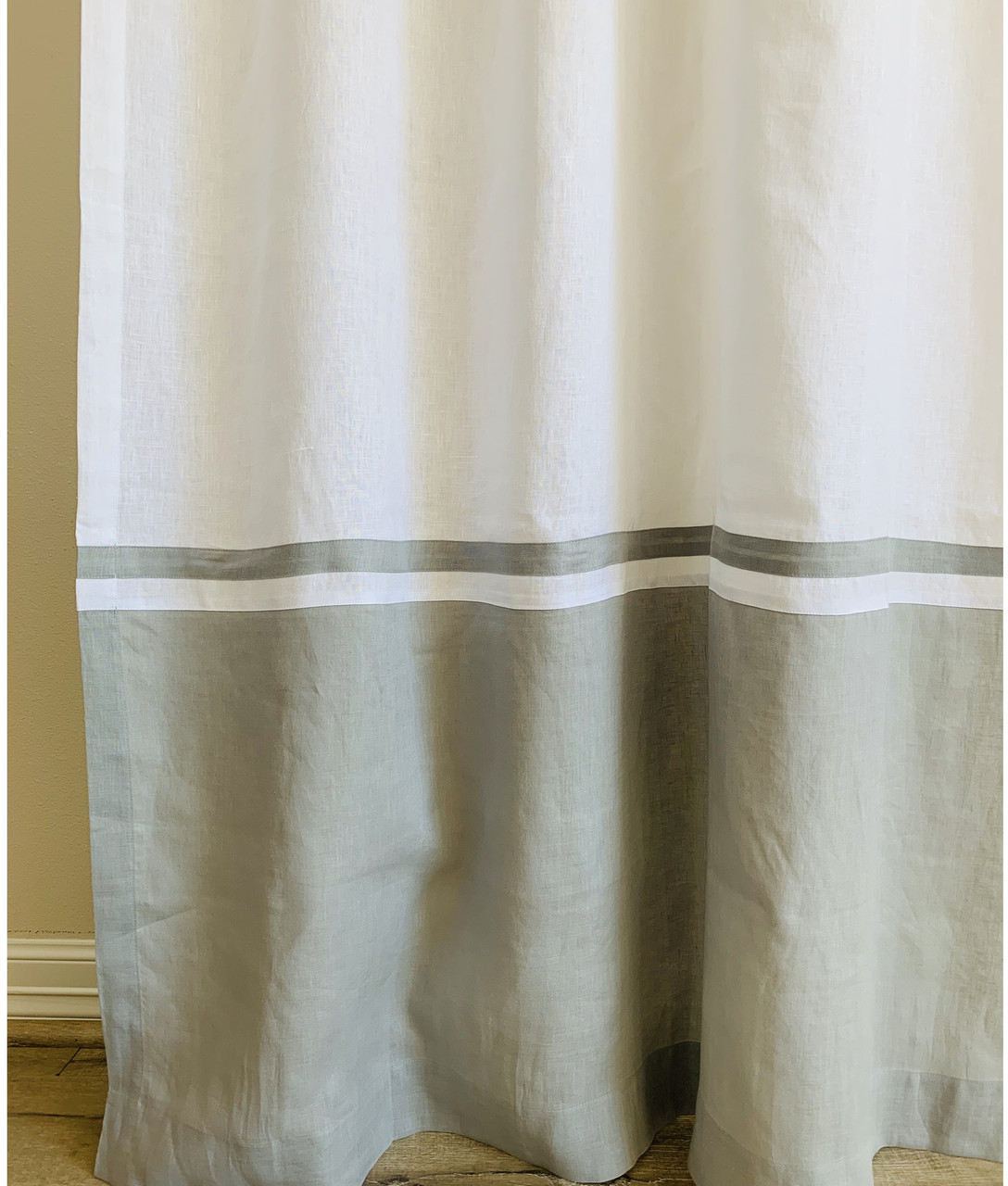 white linen shower curtain with coin grey linen block and stripe
