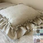 Vintage Ruffle Euro Sham Covers White Grey Cream Pink Blue Stripe Chevron