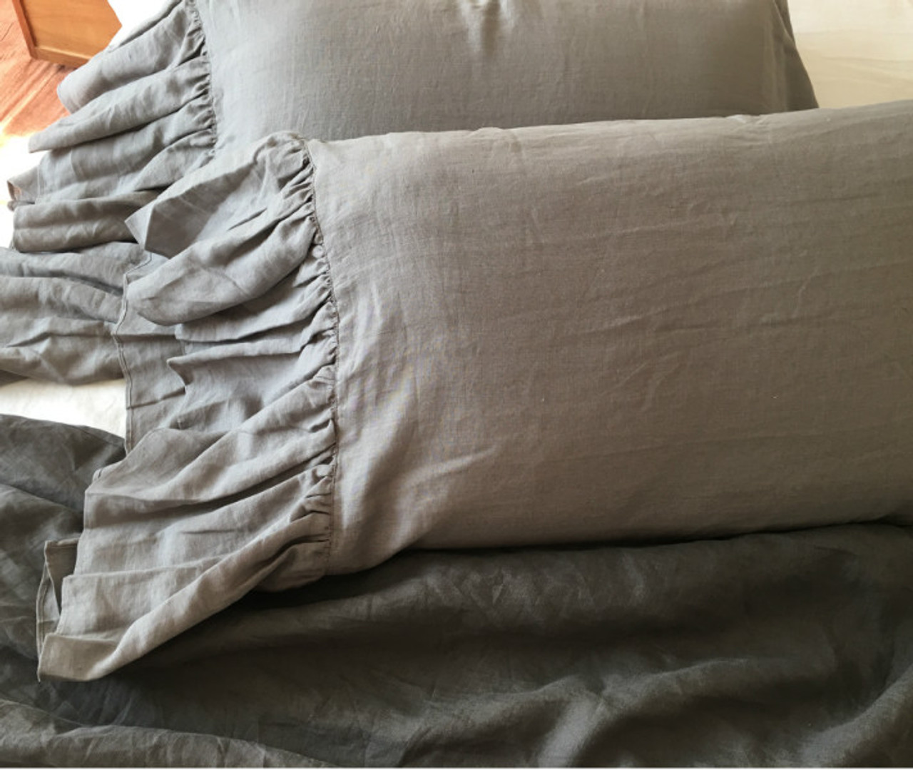 medium grey linen pillow cover with mermaid long ruffles a pair