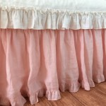 Pink Ruffled Bed Skirt With Ruffle Border Shabby Chic Bed Skirt Handcrafted By Superior Custom Linens