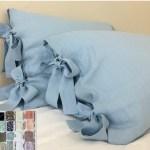 Linen Euro Sham Cover With Bow Ties White Grey Cream Pink Blue Stripe Chevron 40 Colors Custom Size 16x16 18x18 20x20 24x24 26x26 30x30 28x28