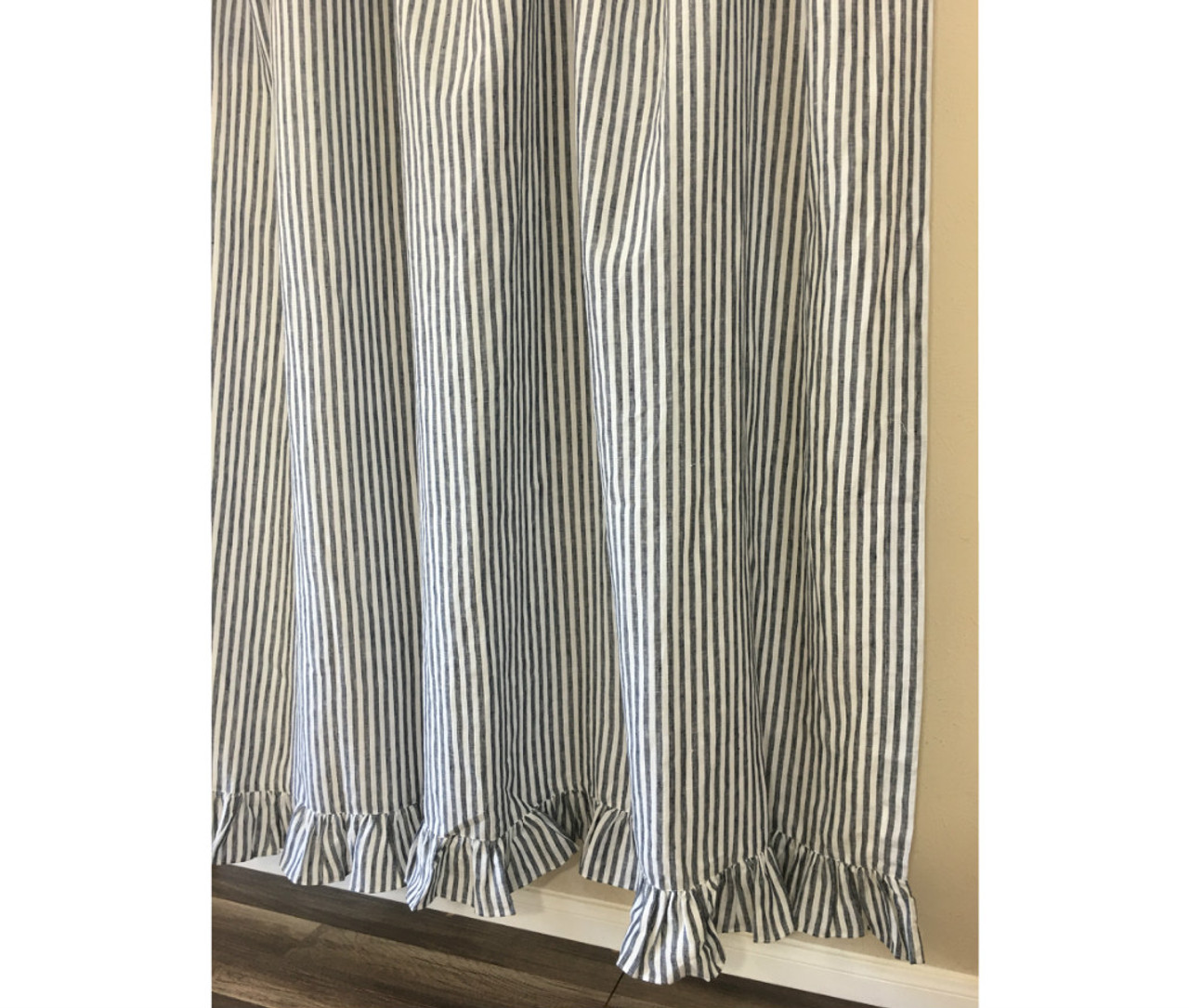 Dark Navy And White Striped Shower Curtain With Ruffle Hem Forever Stripes