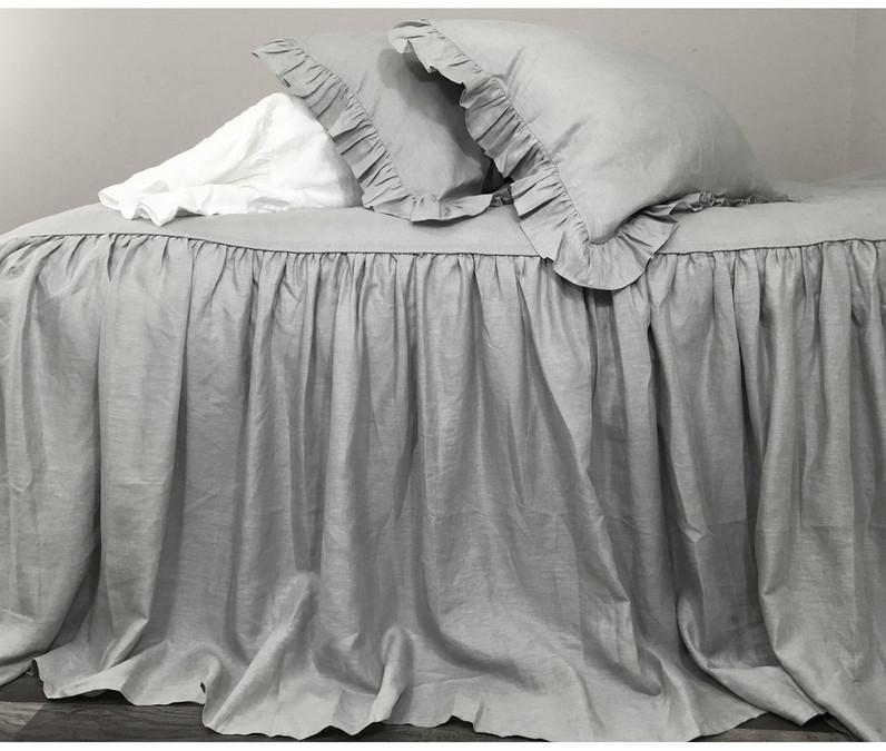 coin grey linen bedspread