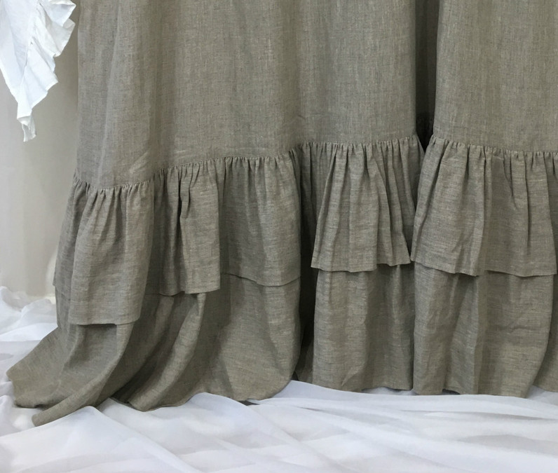 dark linen shower curtains with two tiered mermaid long ruffles