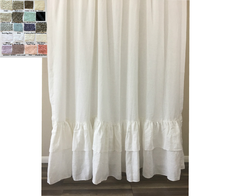 natural linen curtains with double layer mermaid ruffle hem pick your color