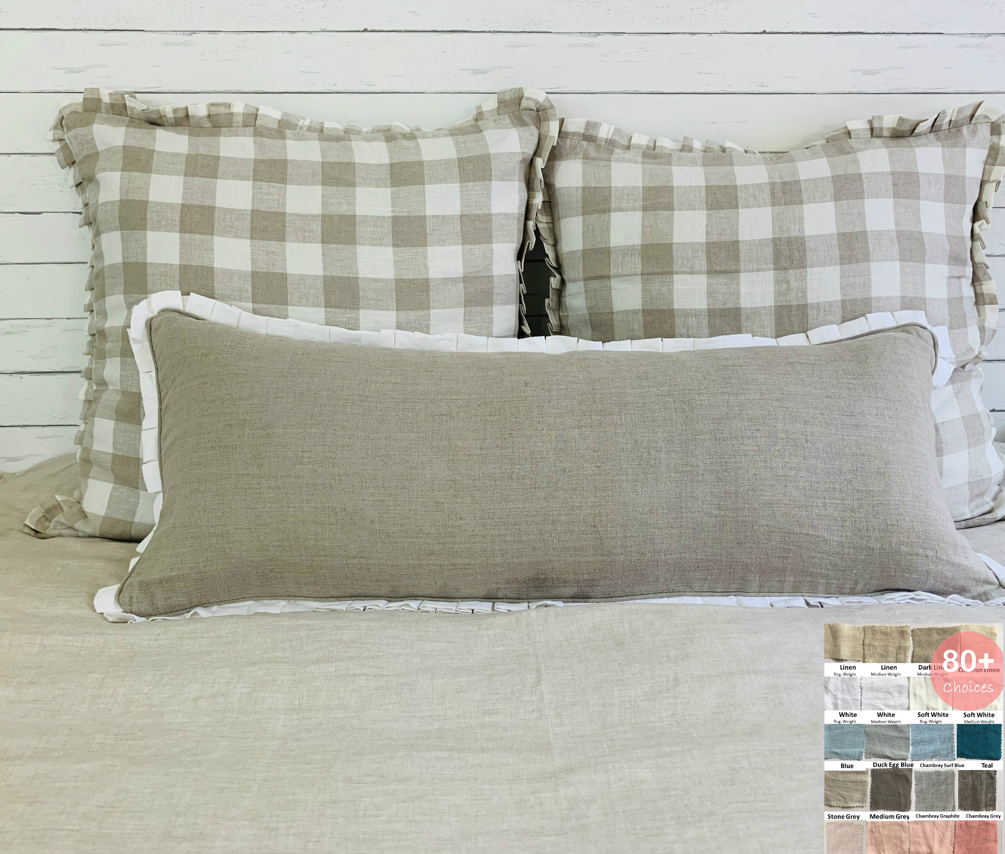 lumbar linen sham with box pleated petite ruffles and piping all the way around pick your color