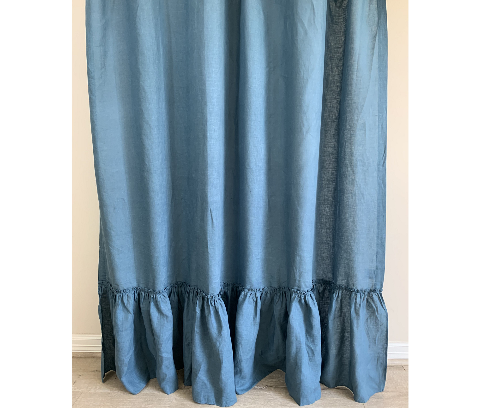 yale blue linen shower curtain country mermaid ruffles