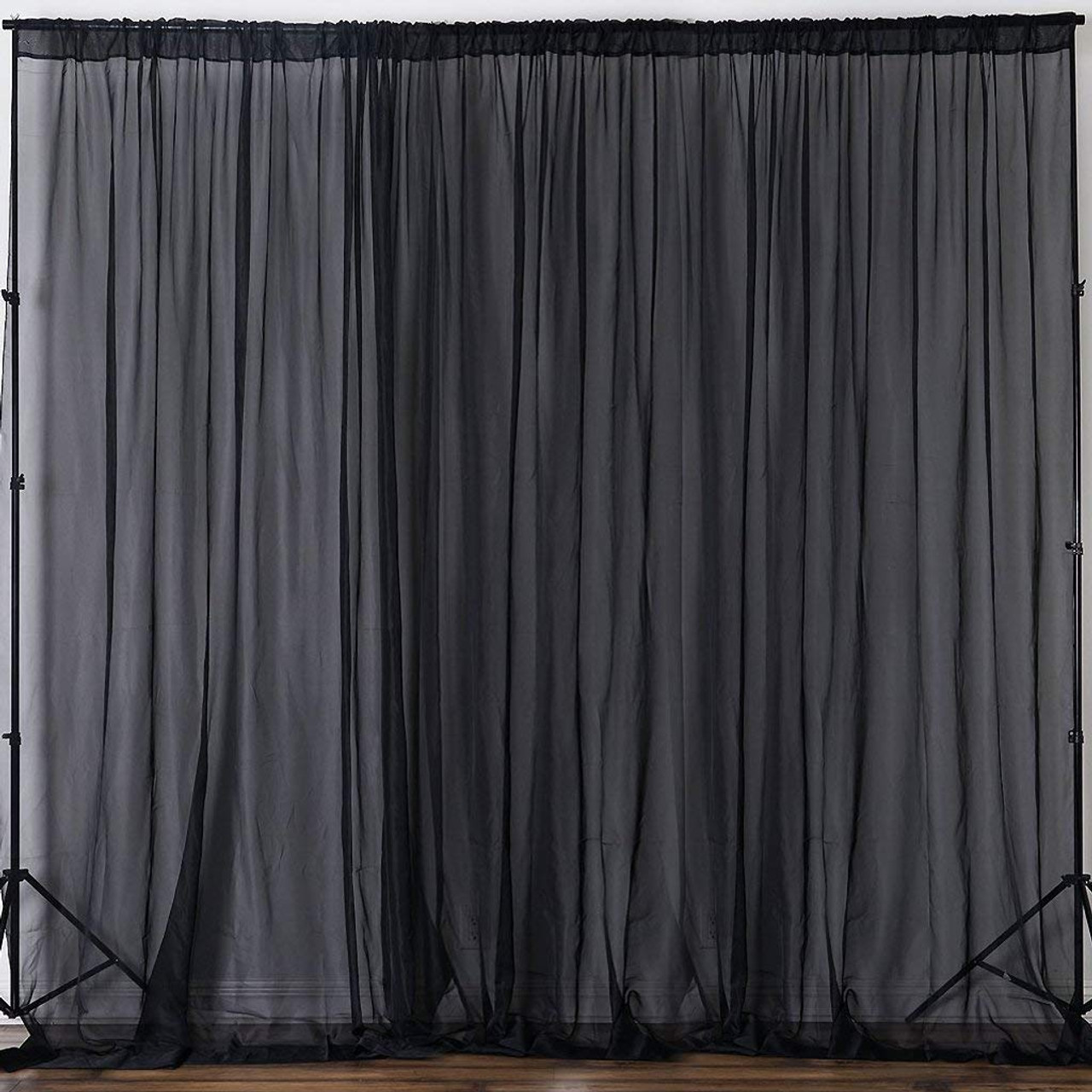 black 120 wide 10ft wide sheer voile drape panels select from 6ft to 50ft length