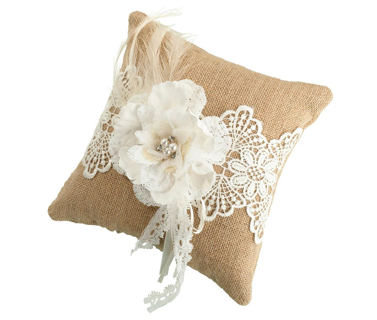 rustic ring bearer pillow with burlap and lace