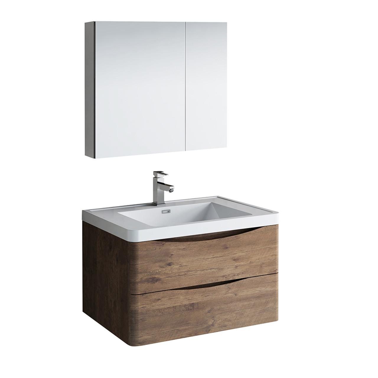 Tuscany 32 Wall Hung Modern Bathroom Vanity W Medicine Cabinet Fvn9032 Residential Baths