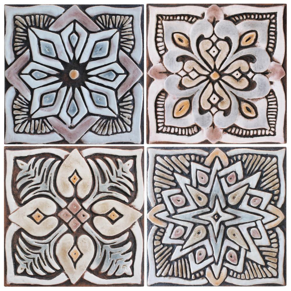 handmade tile matt brown set4 moroccan 15cm 5 9