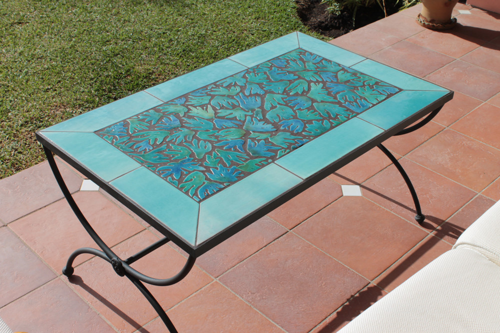 outdoor coffee table mosaic table