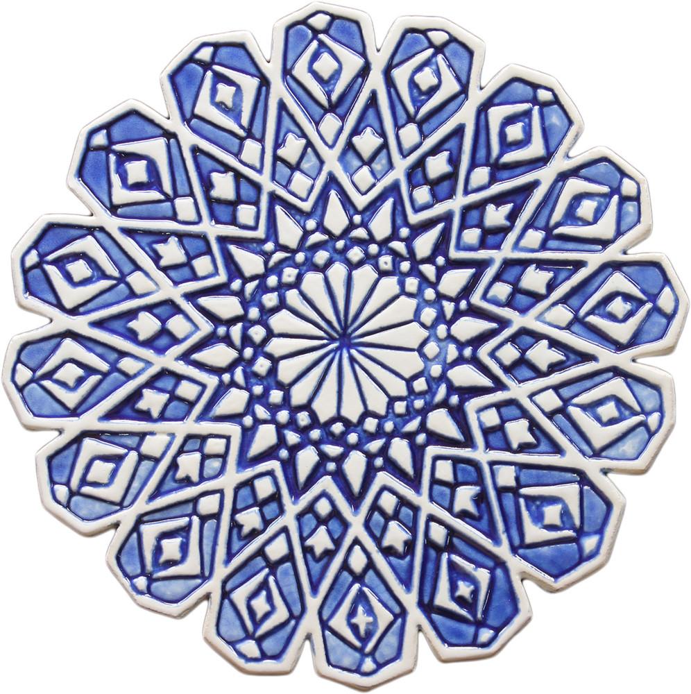 ceramic wall art blue moroccan 4 28cm 11