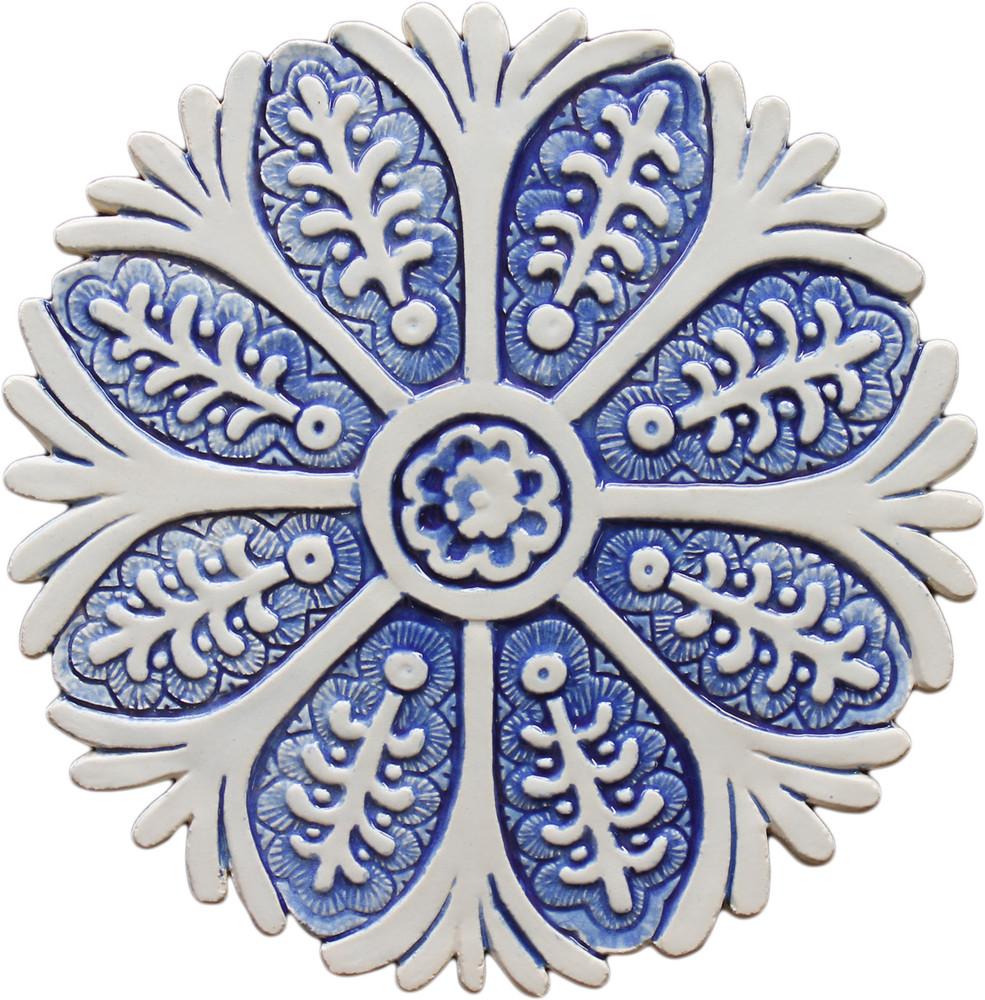 ceramic wall art blue suzani 2 28 5cm 11 2
