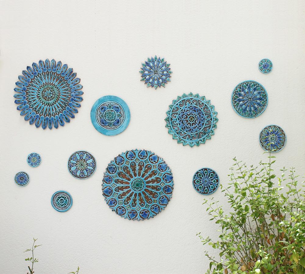 ceramic wall art silver moroccan 4 28 5cm 11 2