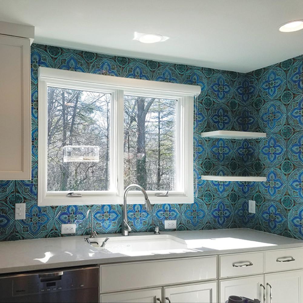 handmade tile turquoise mandala 3 30cm 11 8