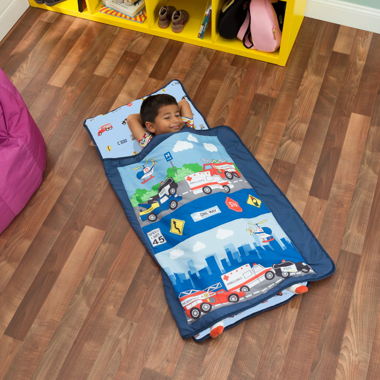 everyday kids toddler nap mat with removable pillow fire police rescue