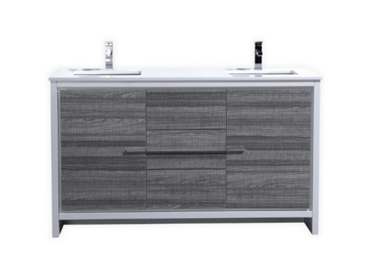 dolce 60 double sink ash gray modern bathroom vanity with white acrylic counter top