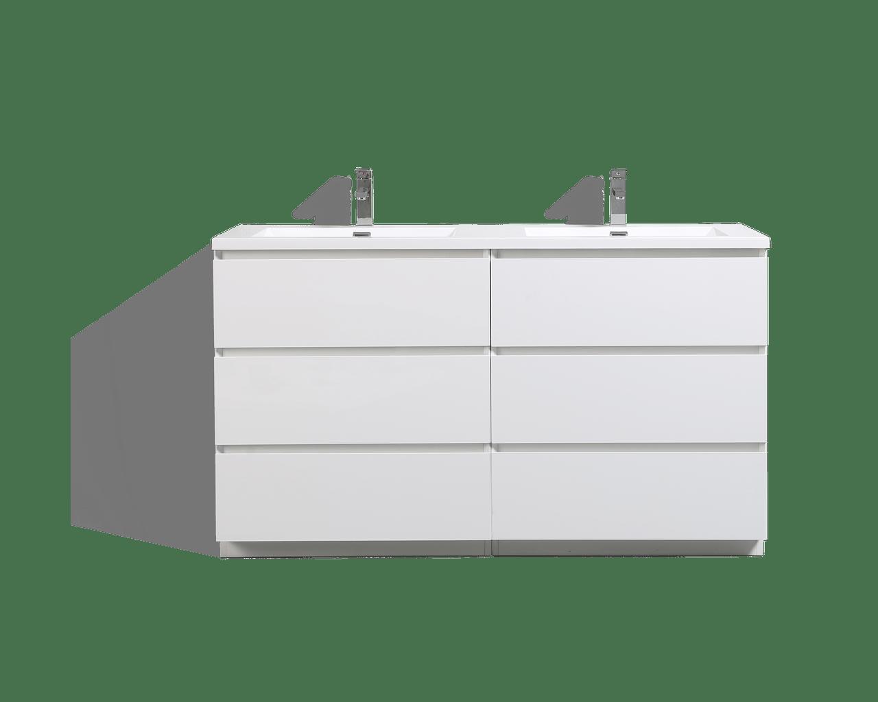 moa 60 double sink gloss white modern bathroom vanity w 6 drawers and acrylic sink