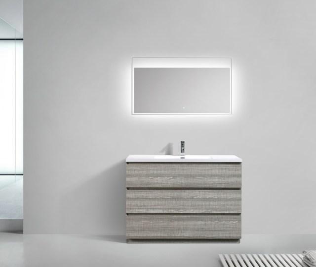 Moa 48 E2 80 B3 Ash Gray Modern Bathroom Vanity W 3 Drawers And Acrylic Sink Los Angeles Vanity