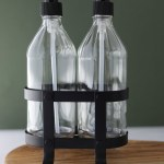 Vintage Kitchen Dish Soap Hand Soap Dispenser Set With Black Metal Stand Caddy Rail19