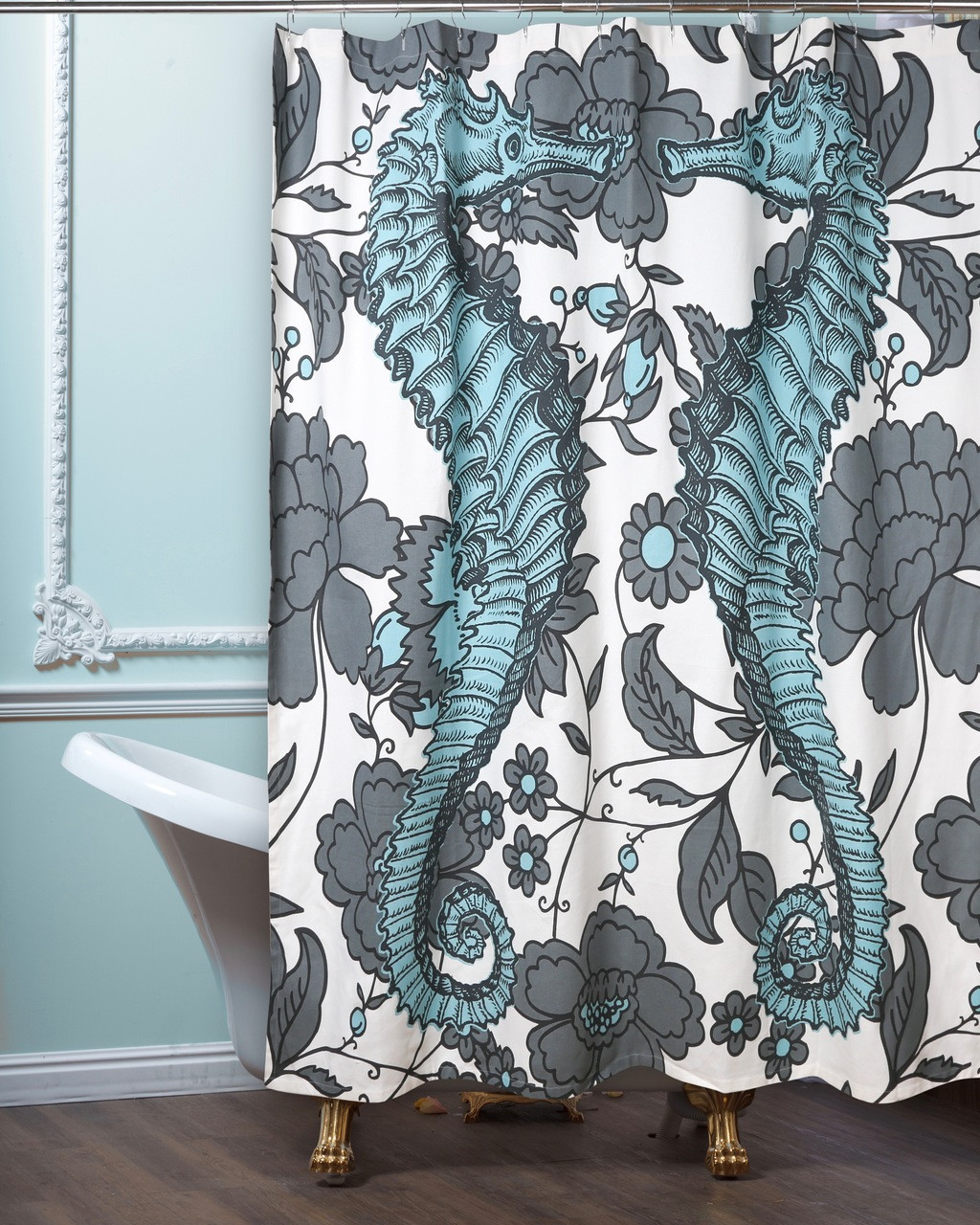 seahorse vineyard shower curtain aqua