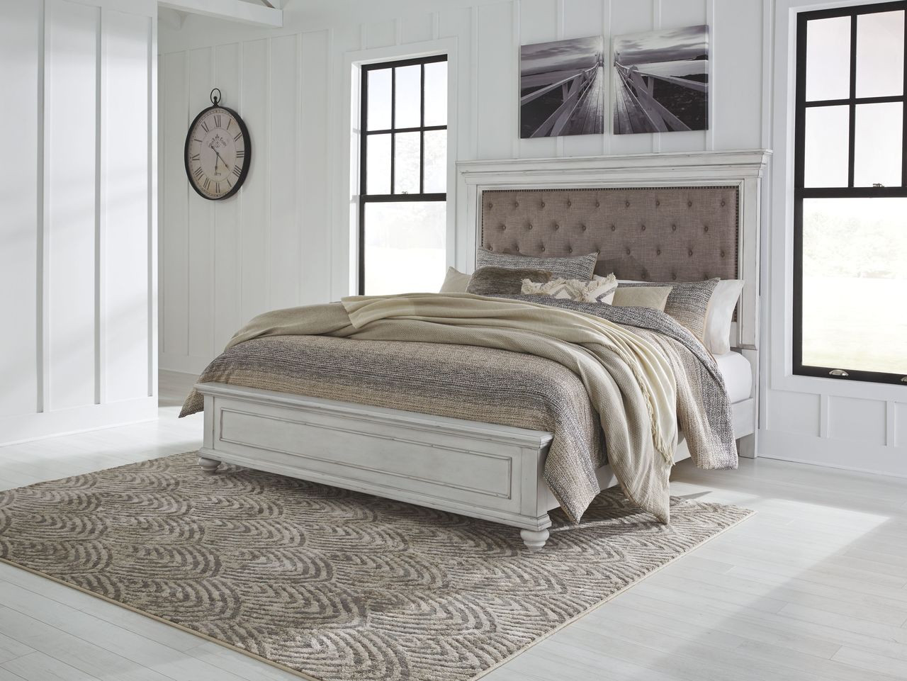 The Kanwyn Whitewash Queen Panel Upholstered Bed Available At Hometown Furnishings Retail Rent To Own Serving Brockton And Taunton Ma