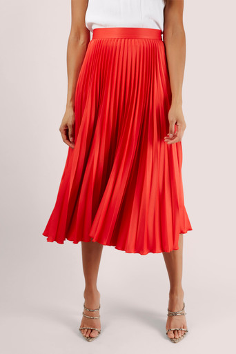 CLOSET LONDON – RED SUNRAY PLEATED SKIRT