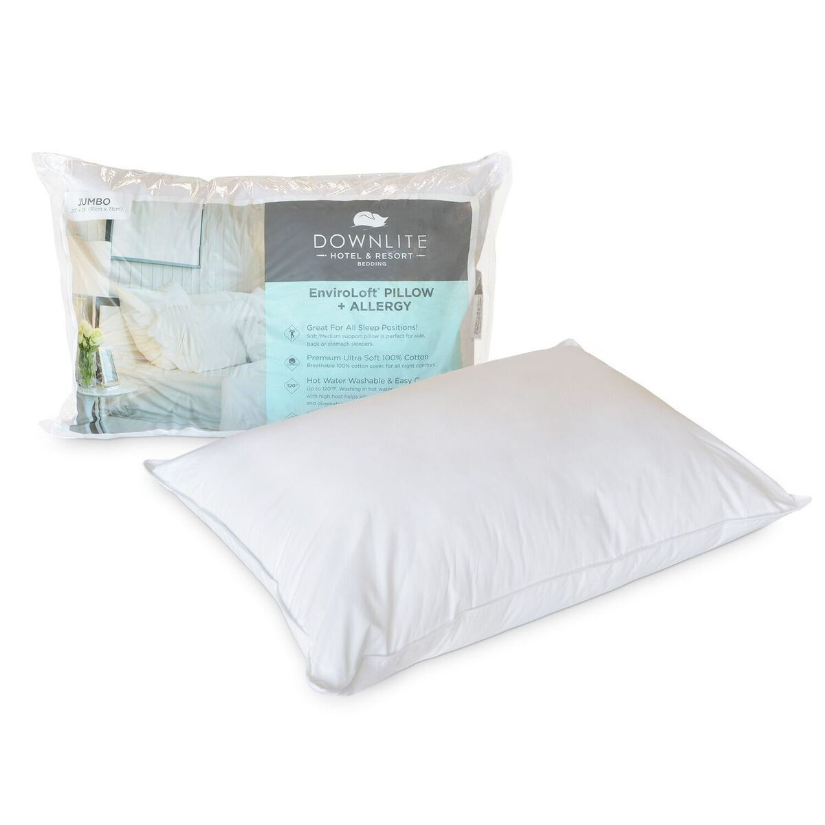 downlite hotel resort medium density 230 tc enviroloft aafa certified down alternative allergen pillow