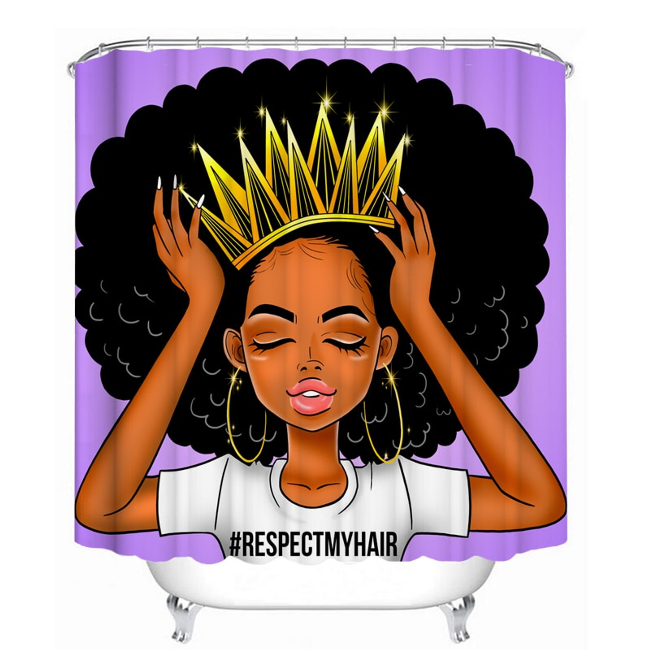 purple african women with crown waterproof shower curtain fashion afro girl queen princess non slip bathroom mat rugs set