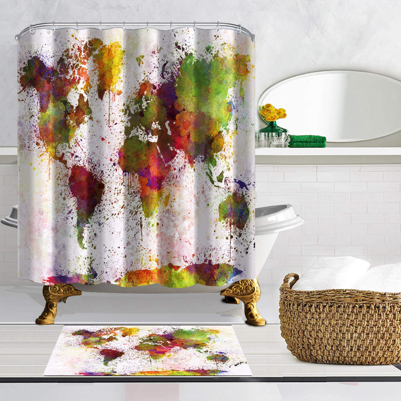 watercolor world map shower curtains art creative design waterproof mildew proof polyester fabric with 12 hooks bathroom curtain