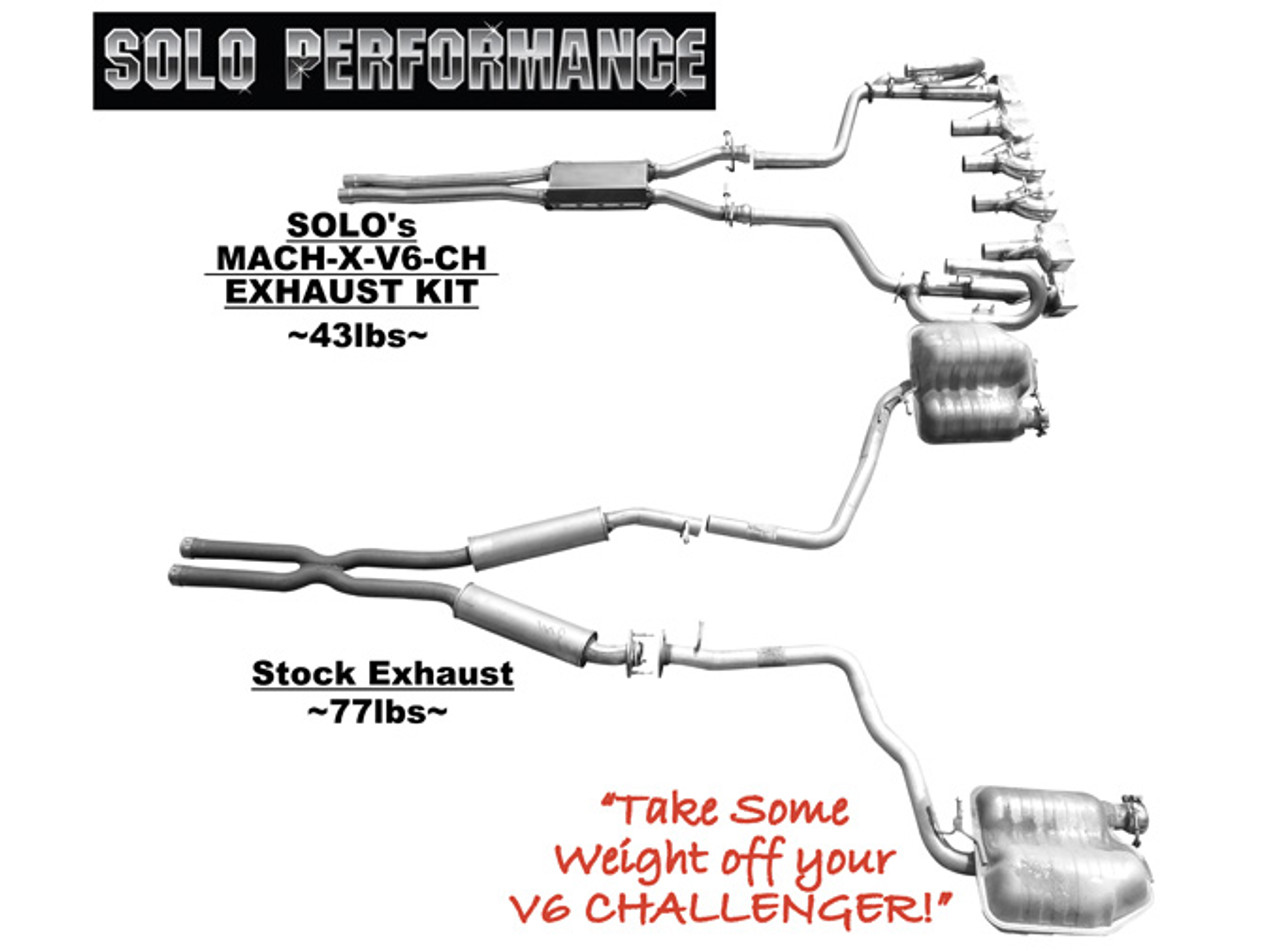 solo performance mach xv cat back exhaust reuse stock tips 2009 2014 dodge challenger sxt v6 991164
