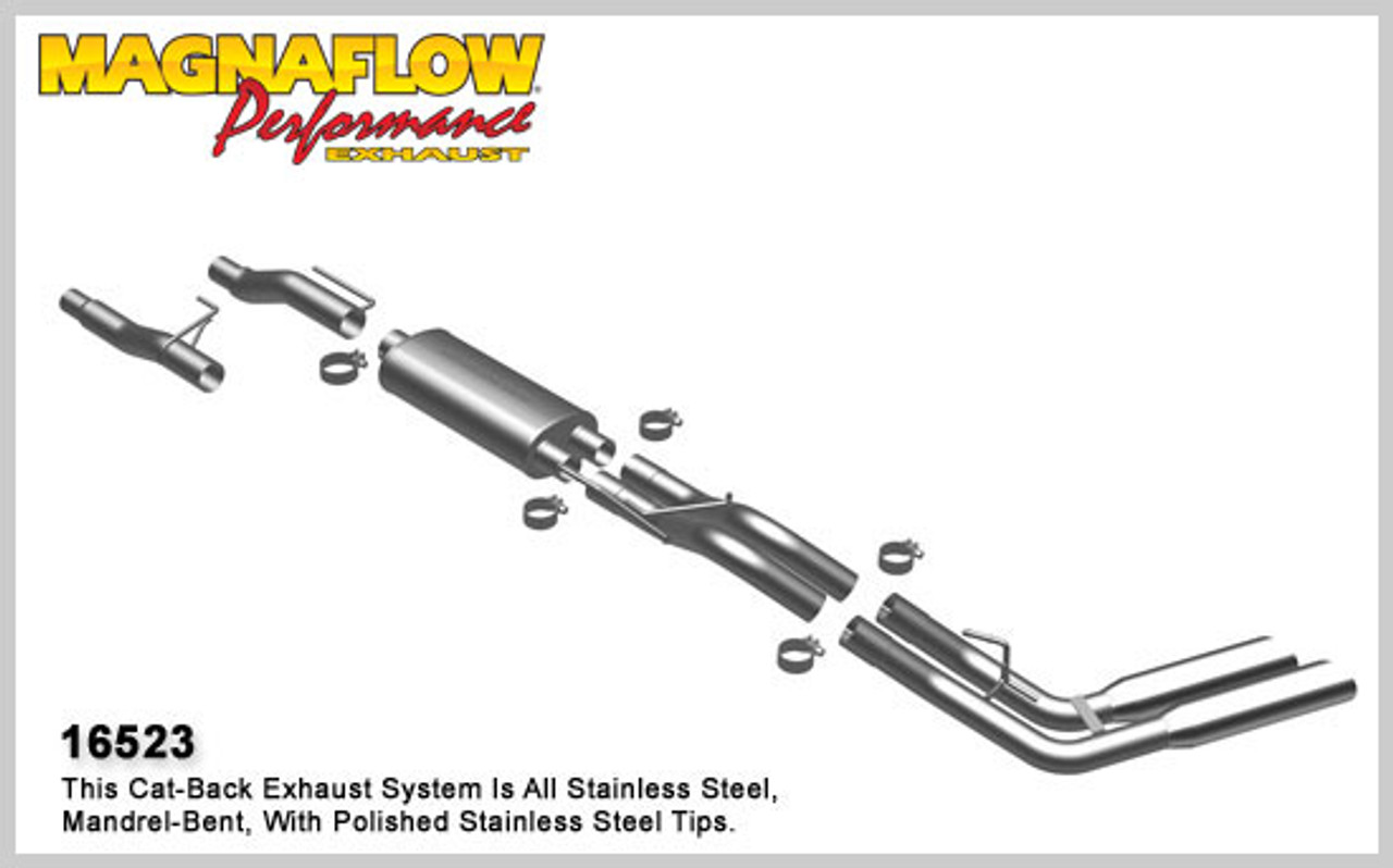 magnaflow performance stainless cat back exhaust system 2004 2010 ford f 150 4 6l 5 4l cc 66 bed and ec 78 bed 16523