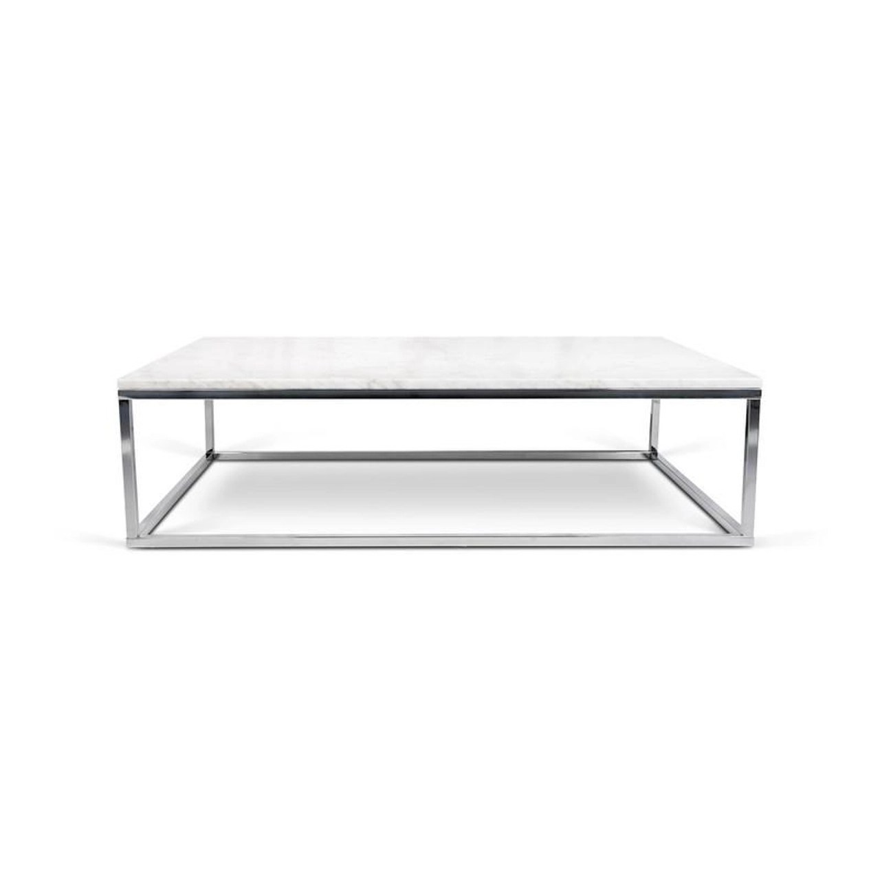 temahome prairie rectangle white marble coffee table with chrome legs 9500 624919