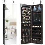 Cw Hw59104cf Wall And Door Mounted Mirrored Jewelry Cabinet With Lights Brown