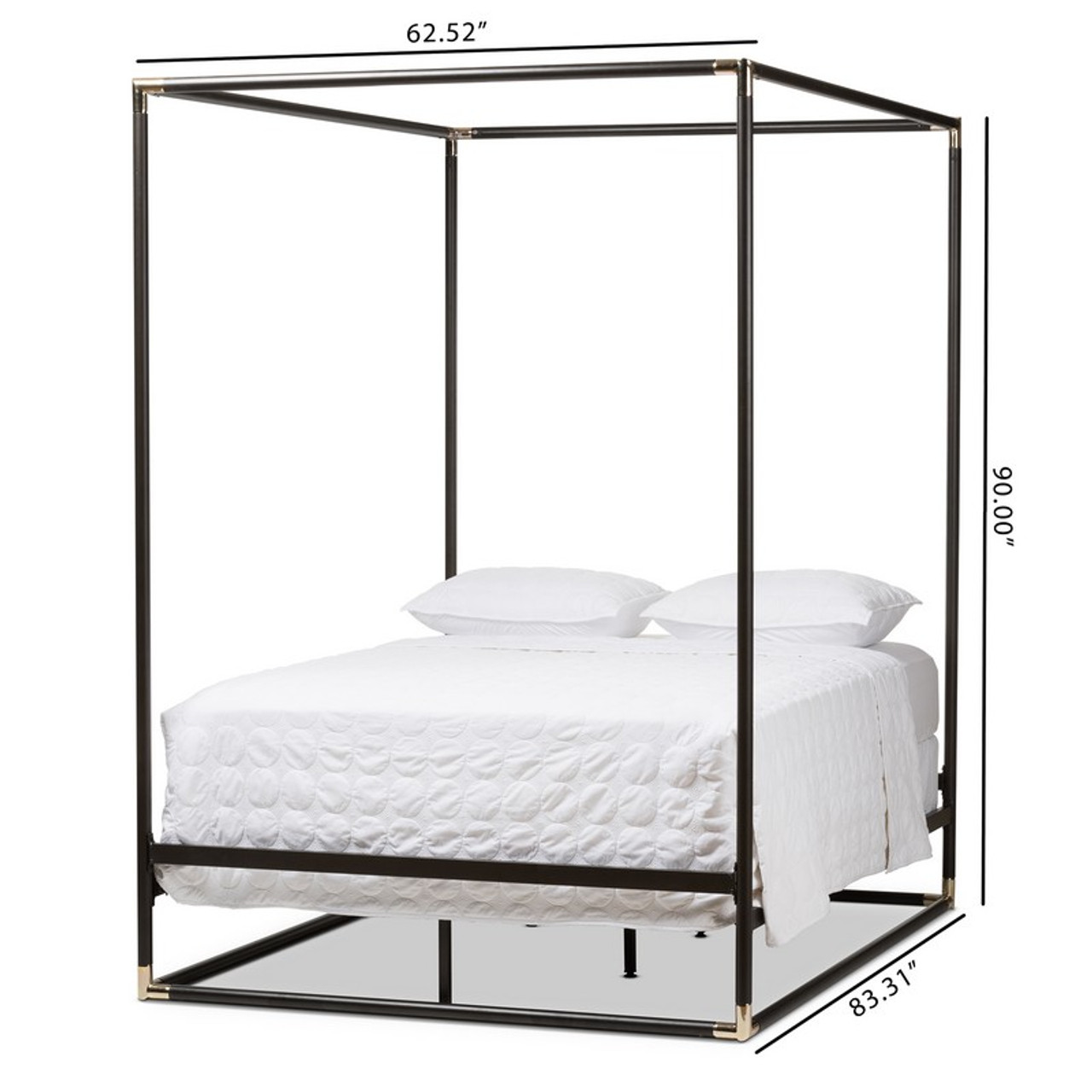 baxton studio eva black metal canopy queen bed ts eva black queen