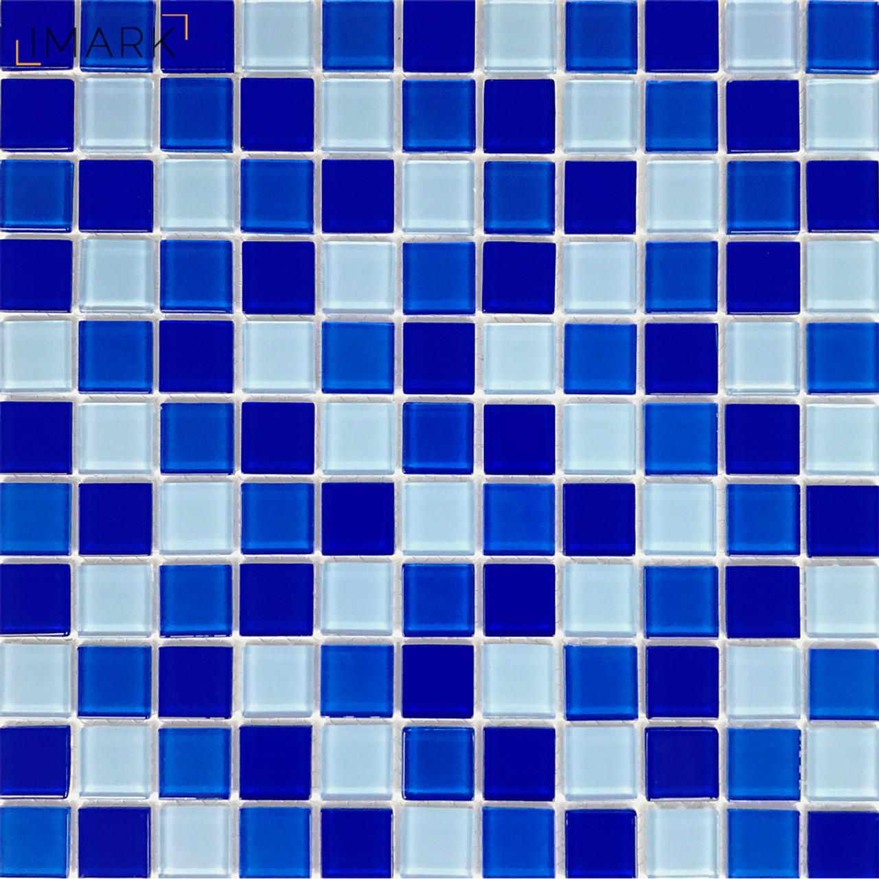 cobalt blue glass mosaic tile