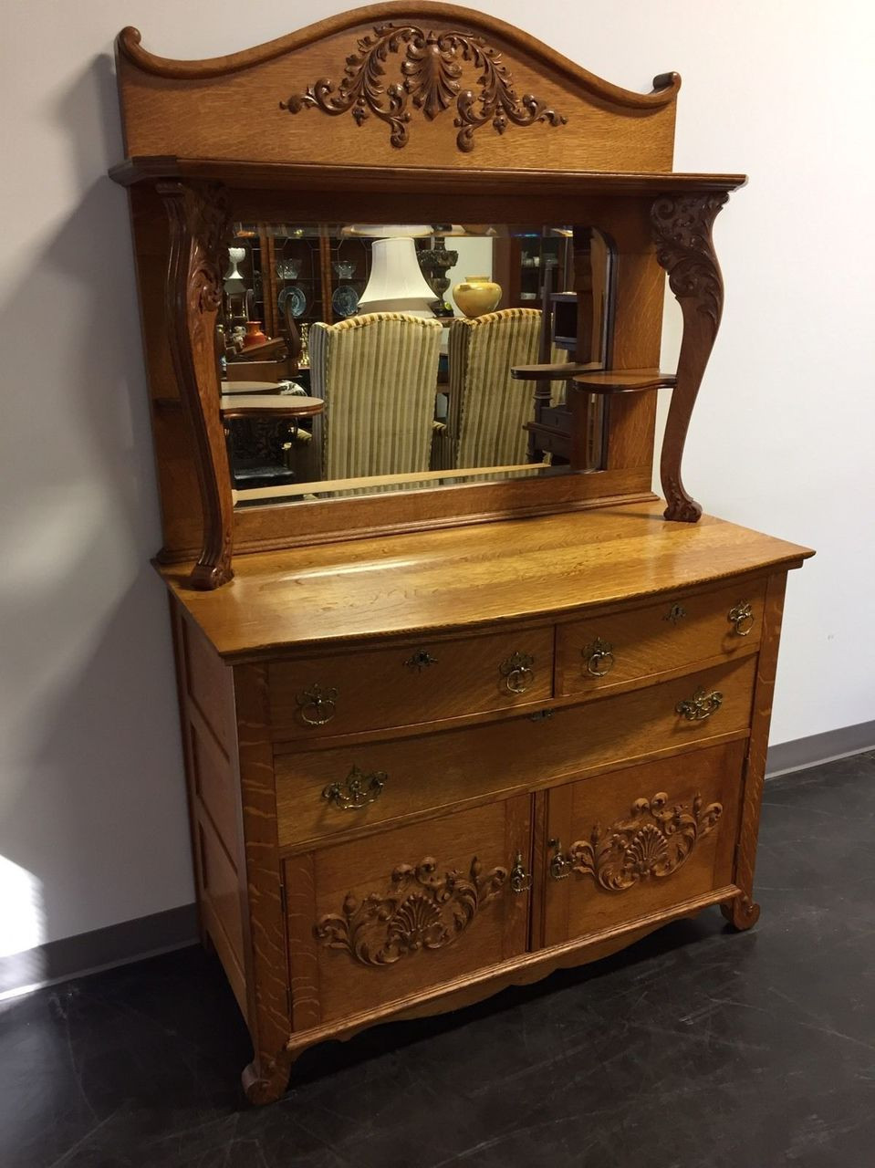 Sold Out Antique Victorian Quartersawn Tiger Oak Sideboard Buffet Beveled Mirror Backsplash Boyd S Fine Furnishings