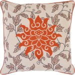 18 Rusty Orange Beige Scrolling Floral Leaf Pattern Square Throw Pillow Down Fillers Christmas Central