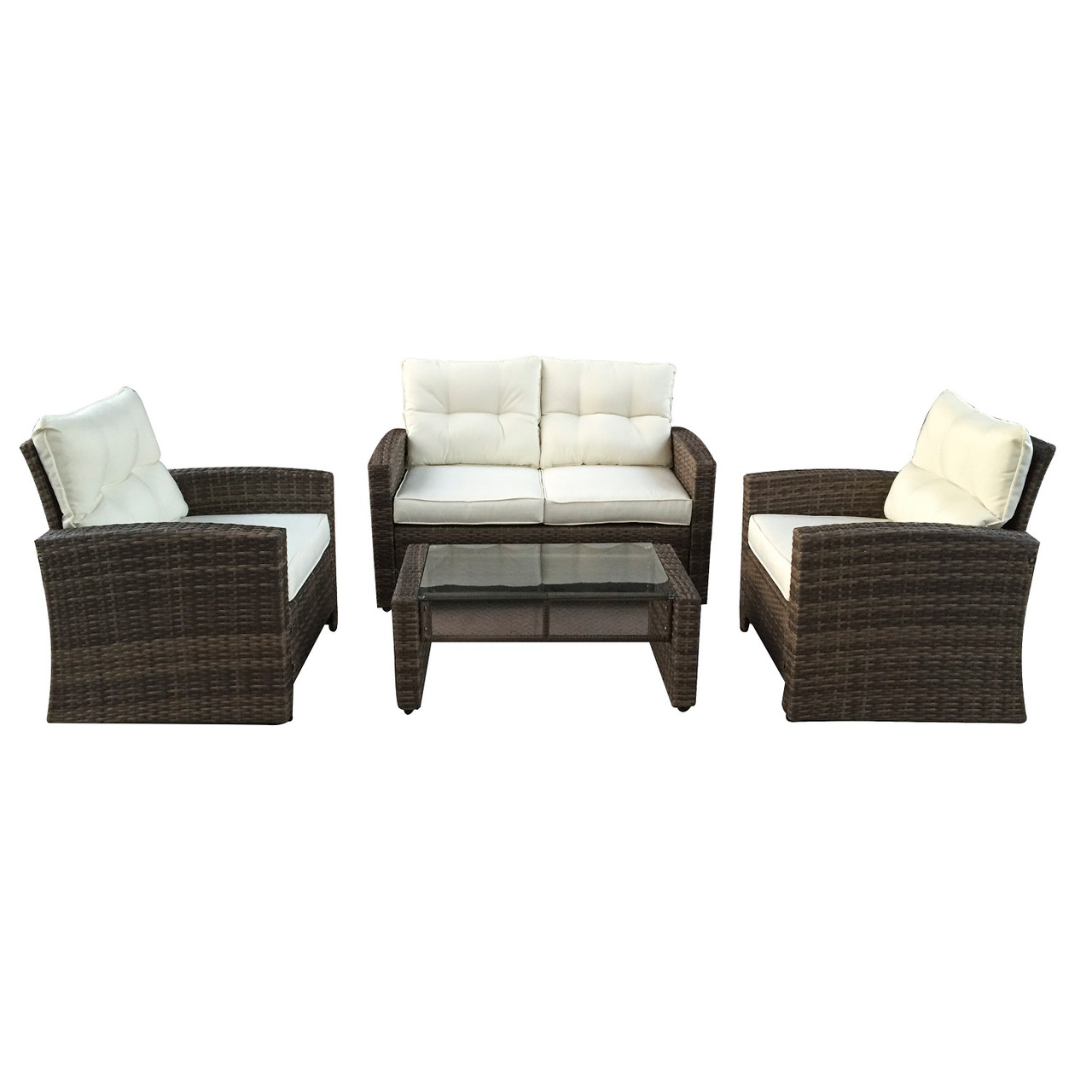 4pc brown and beige two tone rattan outdoor patio furniture set with cushions 50