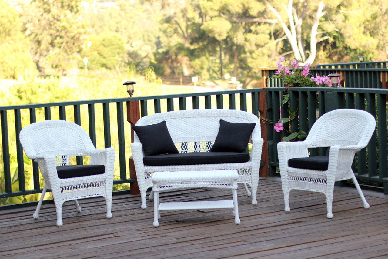 set of 4 ryder white wicker patio chair loveseat table furniture set black cushions
