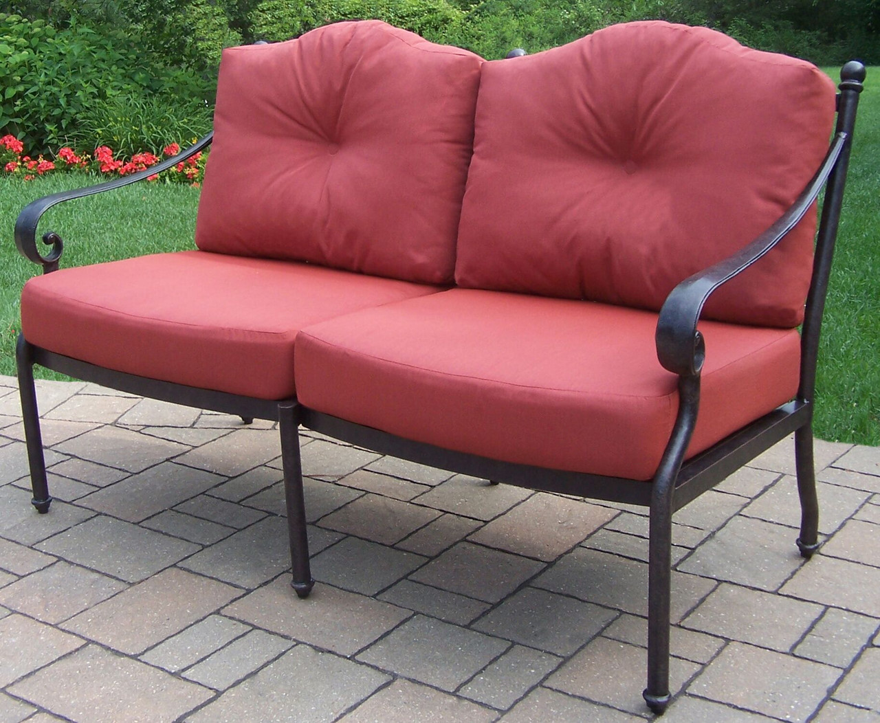 56 black outdoor patio seating loveseat red cushions