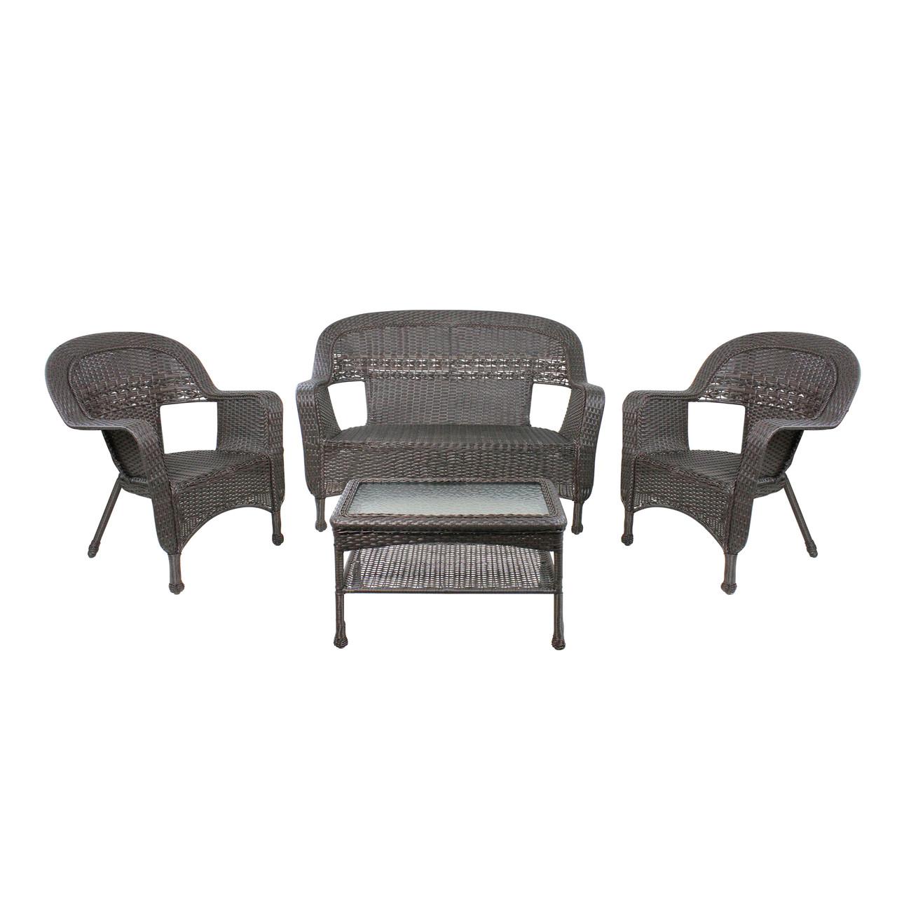 4 piece brown steel resin wicker outdoor patio furniture set 52