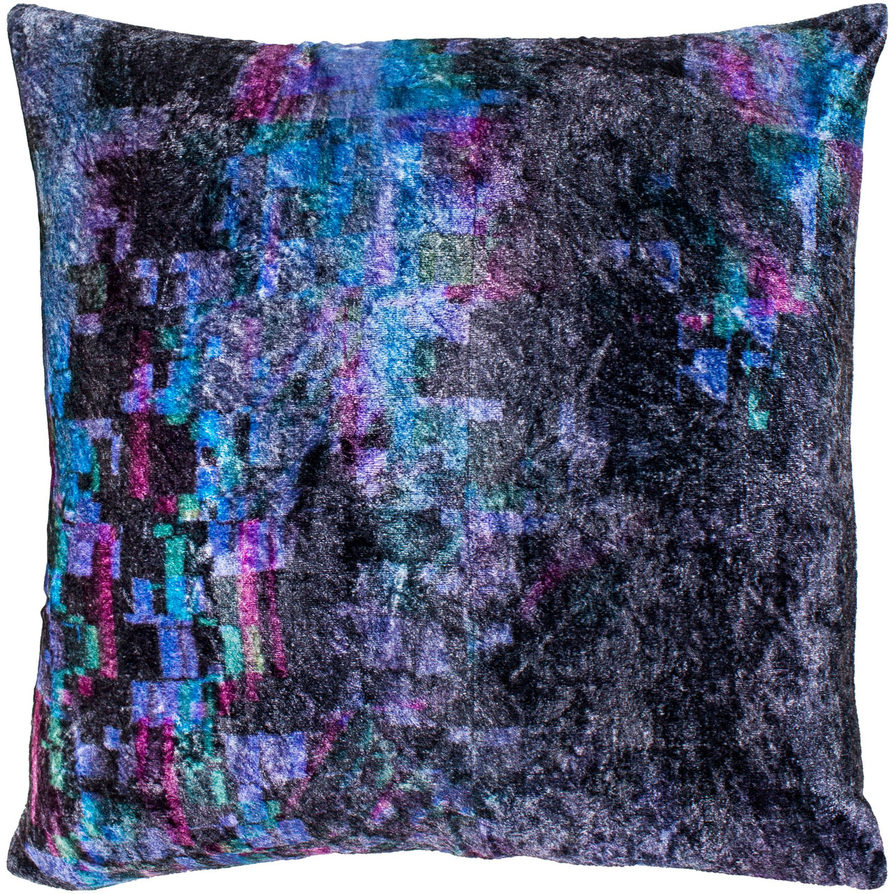 18 black and violet digitally printed square crushed velvet throw pillow cover