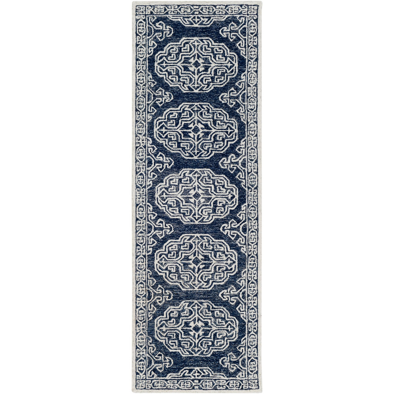 2 5 X 8 Contemporary Style Navy Blue Cream White Rectangular Hand Tufted Wool Area Rug Runner Christmas Central