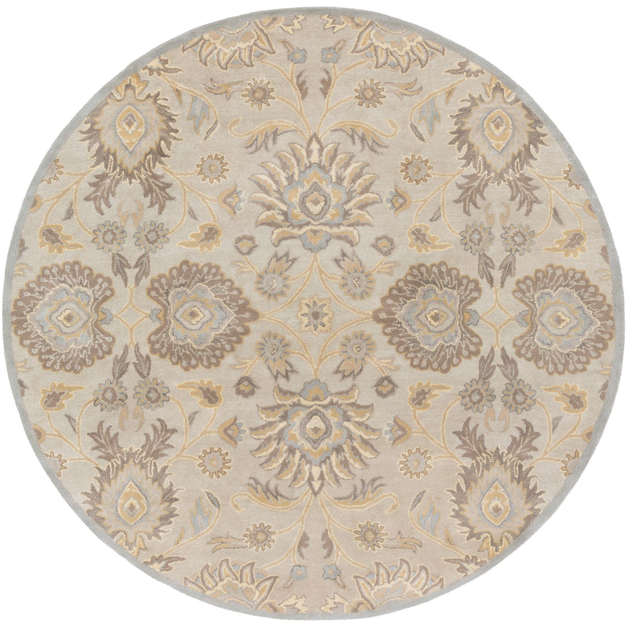 6 Botanical Floral Motif Light Gray And Brown Hand Tufted Wool Round Area Rug 33435152